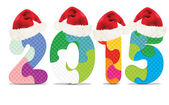2015 made from alphabet puzzle with christmas hats — Stock Vector