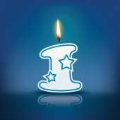Candle number 1 with flame — Stockvektor