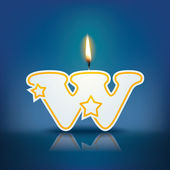 Candle letter w with flame — Stock vektor