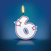Candle number 6 with flame — Stock Vector