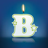 Candle letter B with flame — 图库矢量图片