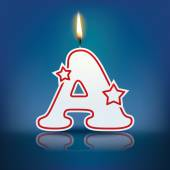 Candle letter A with flame — Stockvektor