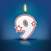Candle number 9 with flame — Stockvektor