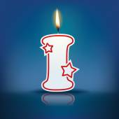 Candle letter I with flame — 图库矢量图片
