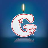 Candle letter G with flame — Stockvektor
