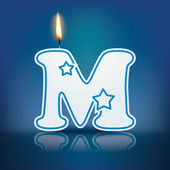 Candle letter M with flame — Stockvektor