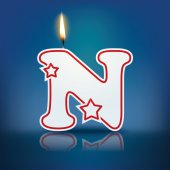 Candle letter N with flame — Stockvektor