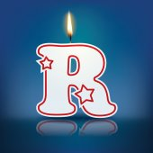 Candle letter R with flame — Stockvektor