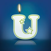 Candle letter U with flame — 图库矢量图片