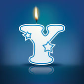 Candle letter Y with flame — Stockvektor
