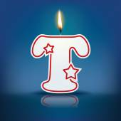 Candle letter T with flame — 图库矢量图片