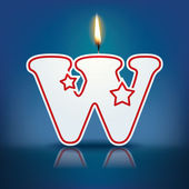 Candle letter W with flame — 图库矢量图片