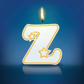 Candle letter Z with flame — 图库矢量图片
