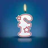 Candle letter f with flame — 图库矢量图片