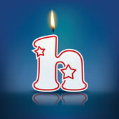 Candle letter h with flame — Stockvektor