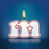 Candle letter m with flame — 图库矢量图片