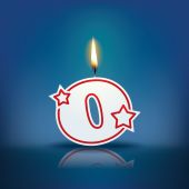Candle letter o with flame — Stockvektor