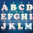 Candle letters from A to M — Stock Vector #60241563