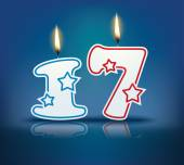 Birthday candle number 17 — Stock Vector