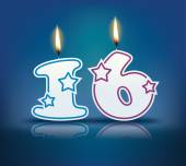 Birthday candle number 16 — Stock Vector