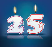 Birthday candle number 25 — Stock Vector