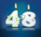 Birthday candle number 48 — Stock Vector