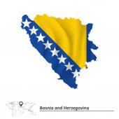 Map of Bosnia and Herzegovina with flag — Stock Vector