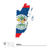 Map of Belize with flag — Stock Vector
