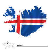 Map of Iceland with flag — Stock Vector