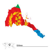 Map of Eritrea with flag — Stock Vector