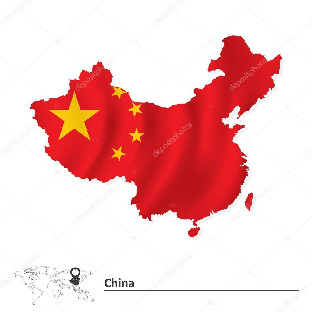 中国的标志-矢量图的电子地图