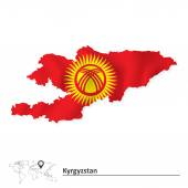 Map of Kyrgyzstan with flag — Stock Vector