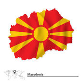Map of Macedonia with flag — Stock Vector