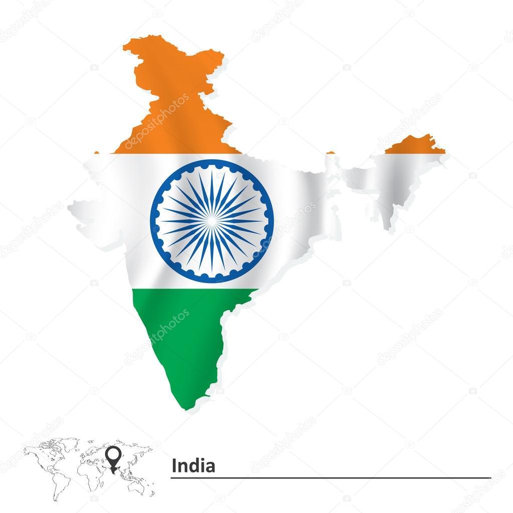 标志-矢量插画的印度地图