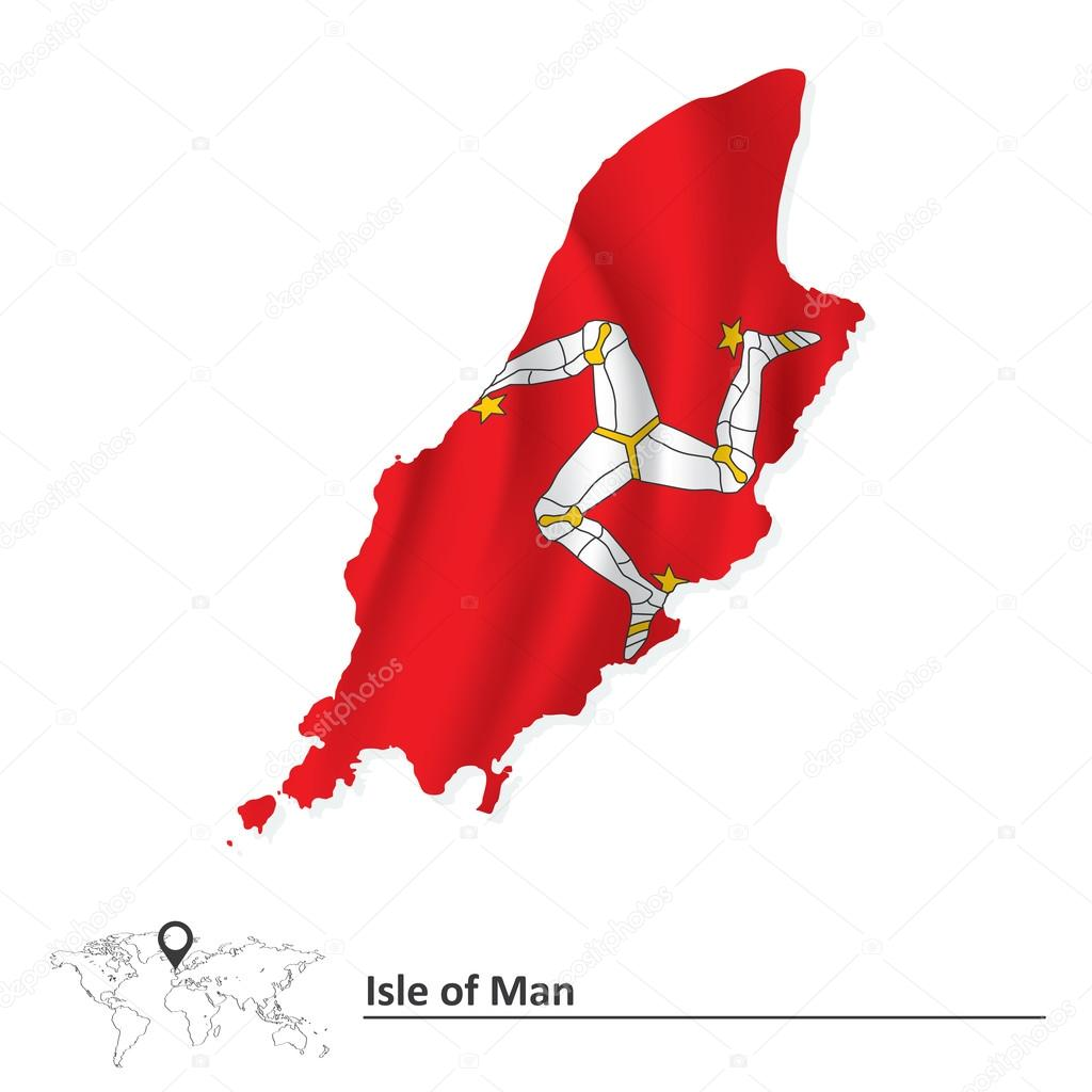 国旗的马恩岛的地图