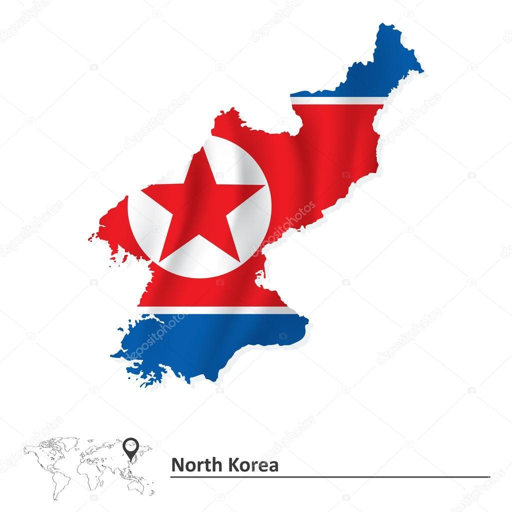 标志-矢量插画的朝鲜地图