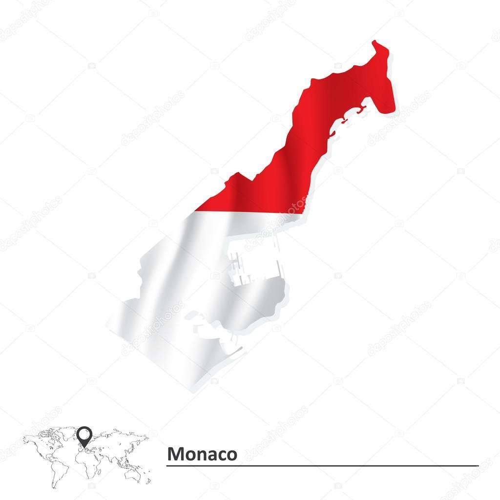 摩纳哥的标志-矢量图的地图