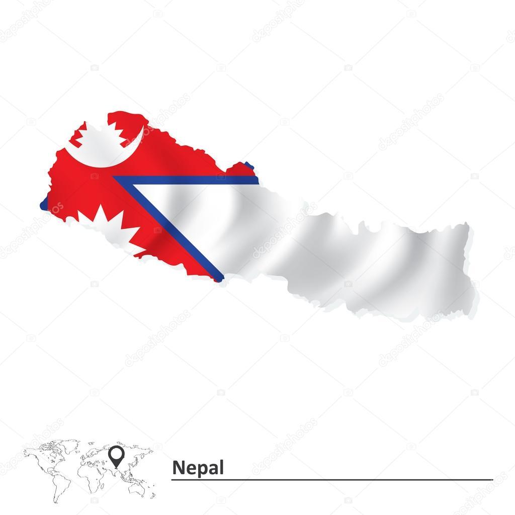 国旗的尼泊尔地图 — 图库矢量图像08 lajo_2