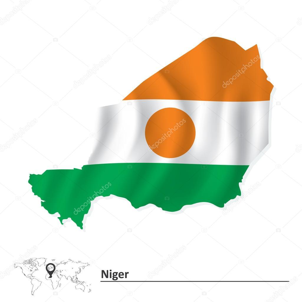 国旗的尼日尔地图 — 图库矢量图像08