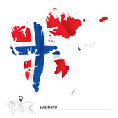 Map of Svalbard with flag — Stock Vector