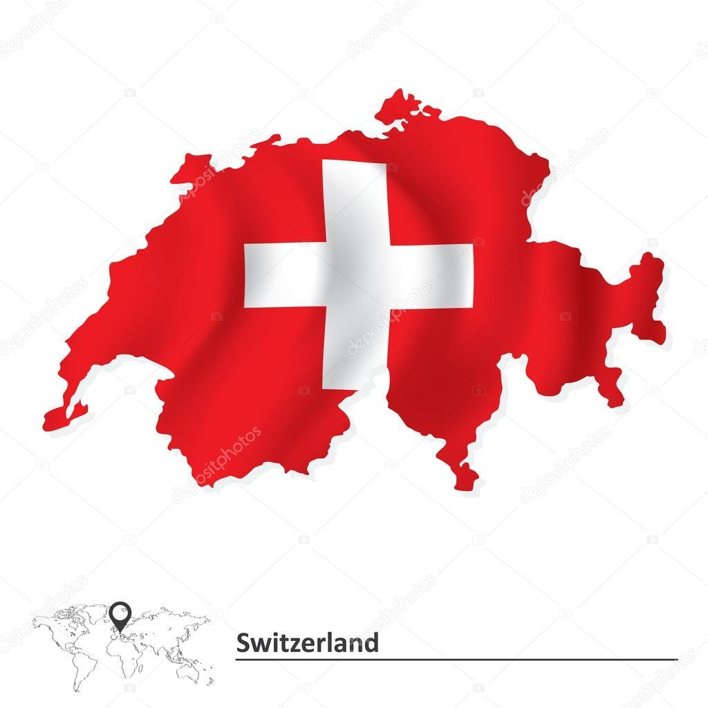 瑞士国旗与地图 — 图库矢量图像08