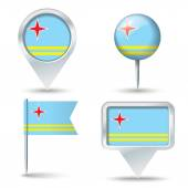 Map pins with flag of Aruba — Stock Vector