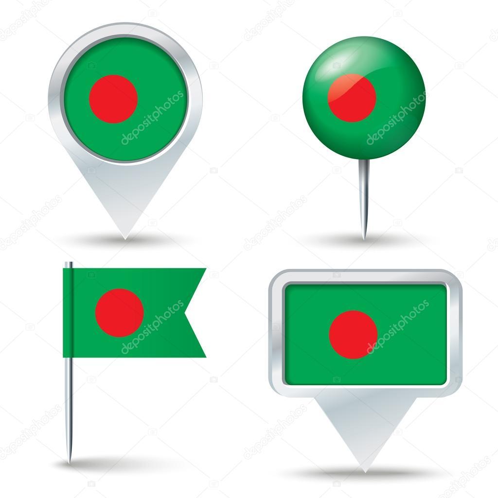 地图与孟加拉国国旗的别针