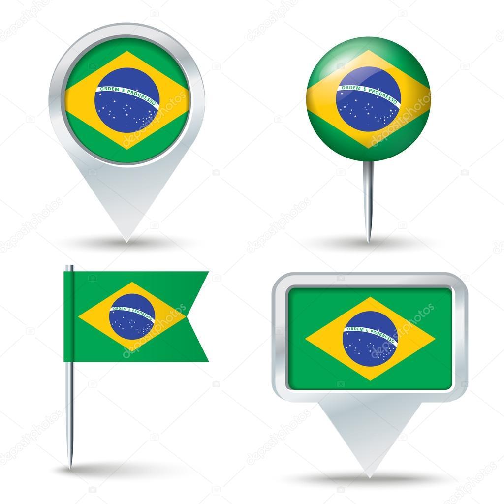 地图与巴西国旗别针