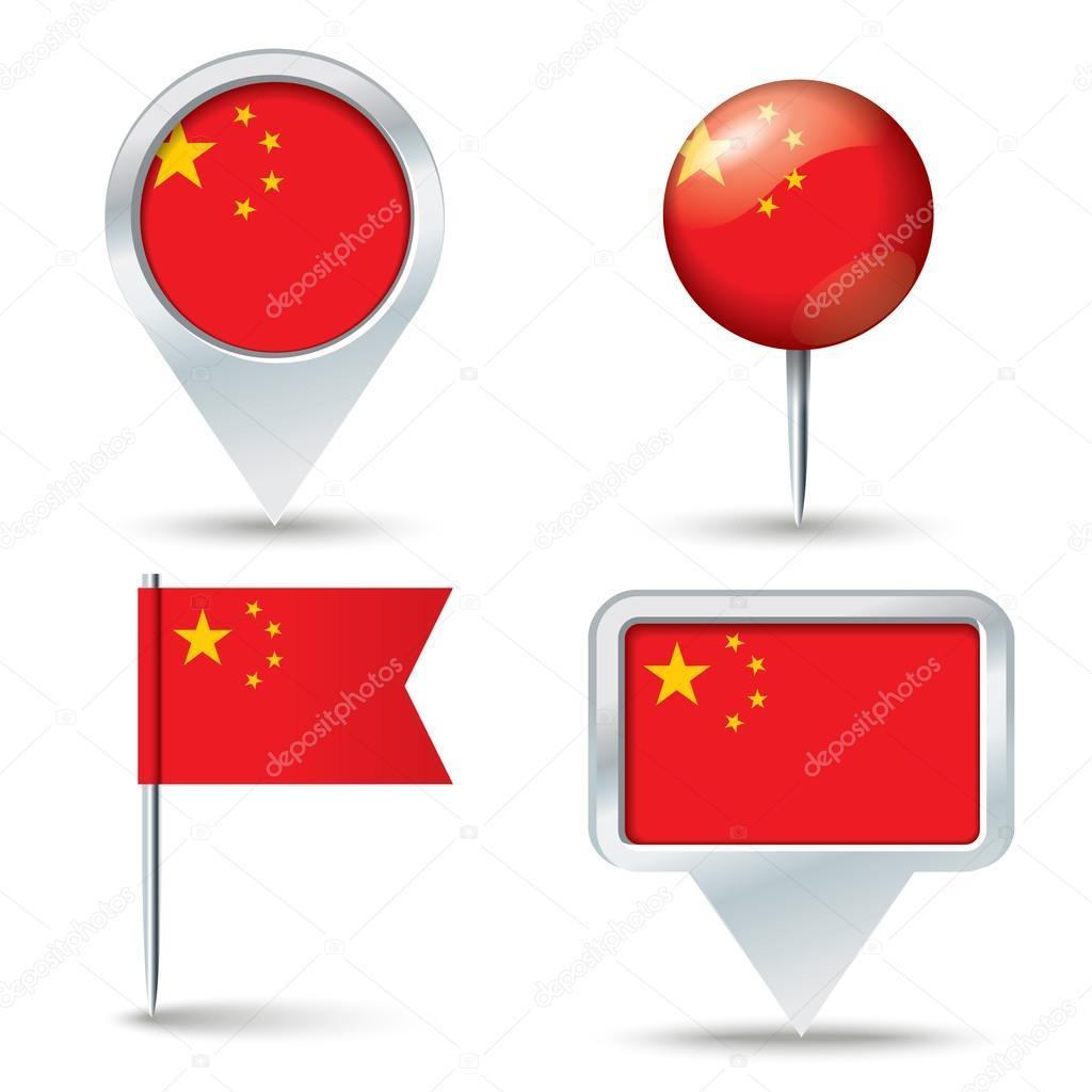 地图与中国-矢量图国旗别针– 图库插图