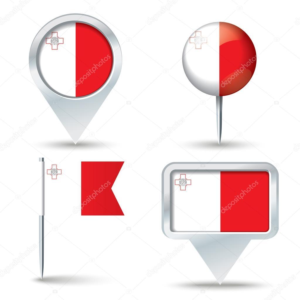 地图与马耳他-矢量图国旗别针– 图库插图