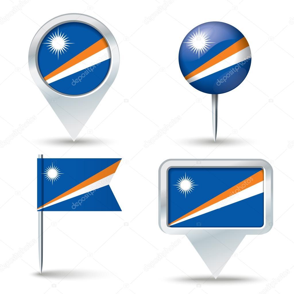 地图与马绍尔群岛国旗别针