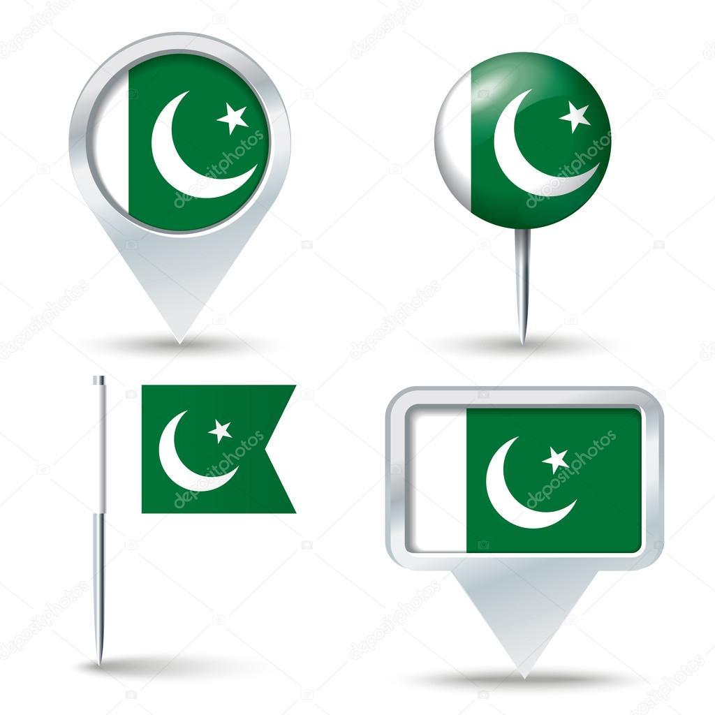 巴基斯坦-矢量图国旗的地图销– 图库插图