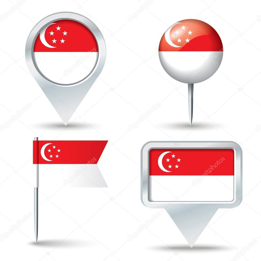地图与新加坡-矢量图国旗别针– 图库插图