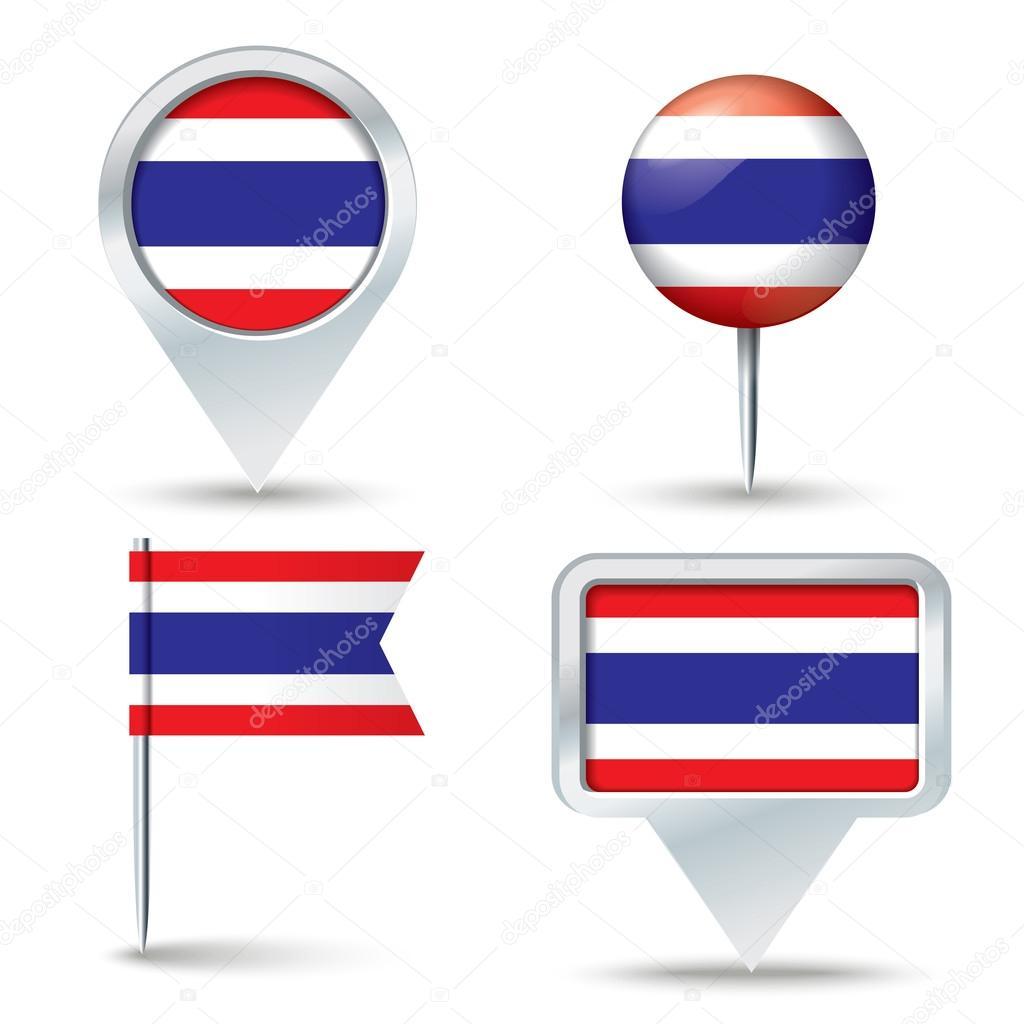 地图与泰国-矢量图国旗别针– 图库插图